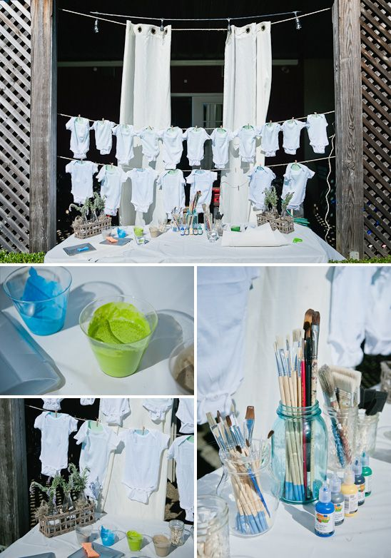 French Garden Themed Baby Shower - with onesie painting station (not french part, but painting part)
