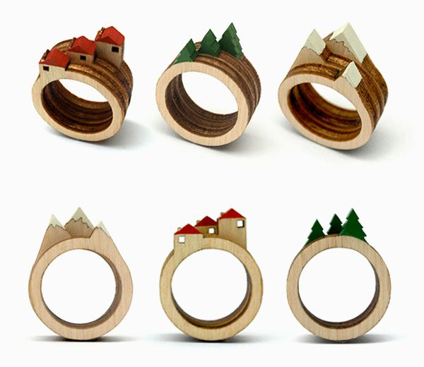 landscape ring series by clive roddy - little wooden landscapes to wear