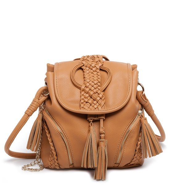 Camel shoulder bag with decorative tassels, gold chain and braid.