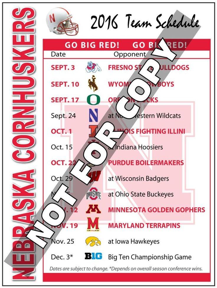 2016 Nebraska Cornhuskers Football Schedule Magnet - (High Quality Magnet)…