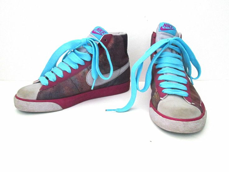 Nike high top shoes sneakers purple spray paint hologram Women Sz 6.5