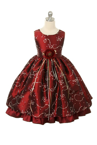 Burgundy Embroidered Taffeta Flower Girl Dress