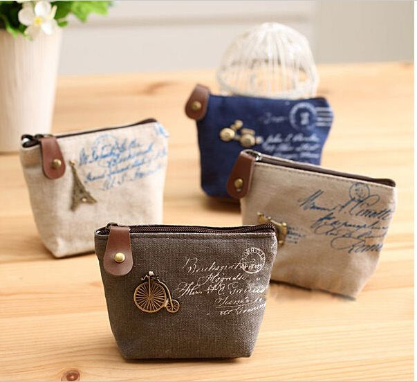 2014 New fashion Zipper Coin wallets Mini Canvas bag female Tower Wallet Card Key Coins Purse  pattern Cartoon for Women Girl-in Wallets fro...