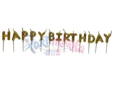 Altın Renk Happy Birthday Yazılı Doğum Günü Mumu
