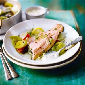 Steamed trout with vegetables poached in white wine recipe. Chef Adam Byatt shares a beautiful trout dish that immortalises childhood fishing trips with his dad.