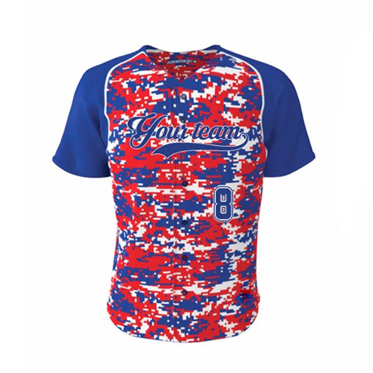 ==> [Free Shipping] Buy Best Red&Blue Camo Baseball Jersey Custom Blank Softball jerseys ForTeam Wear wholesale Polyester Quick Dry Training Shirts Online with LOWEST Price   32737220632