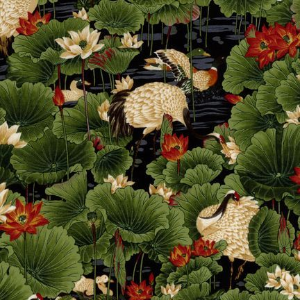 Robert Kaufman Fabrics: ES-3670-3 ANT. BLK from Oriental Traditions Original Collection