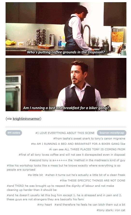 """""""Am I running a bed-and-breakfast for a biker gang?"""" (THE COMMENTARY is pure gold...) #TonyStark #Civil War"""
