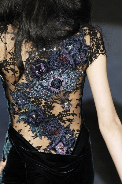 Tattoo-like dress back detail with a mix of lace, embroidery and embellishment; fashion details // Roberto Cavalli