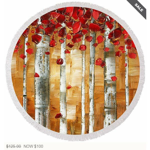 Round Beach Towel Bath Large Brown Red Birch Trees Microfiber... ($124) ❤ liked on Polyvore featuring home, bed & bath, bath, bath towels, bathroom, grey, home & living, grey bath towels, plush bath towels and gray bath towels