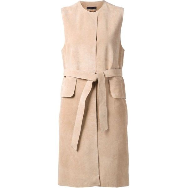 The Row Belted Waistcoat (£1,635) ❤ liked on Polyvore featuring outerwear, vests, coats, dresses, vest, jackets, vest waistcoat, collarless vest, waistcoat vest and pink vest