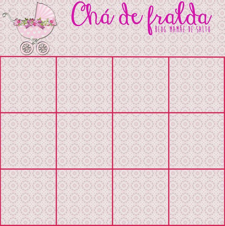 """Cartela para """"baby bingo"""" menina para brincadeira de chá de fralda e/ou chá de bebê! www.mamaedesalto.com"""
