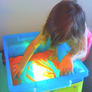 Make your own light table with a Rubbermaid container and a portable fluorescent light for sand painting. I used a cardboard box to create a space under the container for the light to sit under, added sand and let the kids go wild!