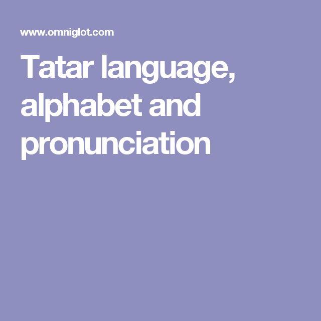 Tatar language, alphabet and pronunciation