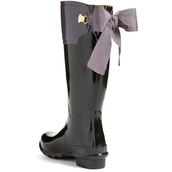 Women's Joules 'Evedon' Rain Boot ($165) ❤ liked on Polyvore featuring shoes, boots, bow riding boots, wellies boots, equestrian boots, wellington boots and rain boots
