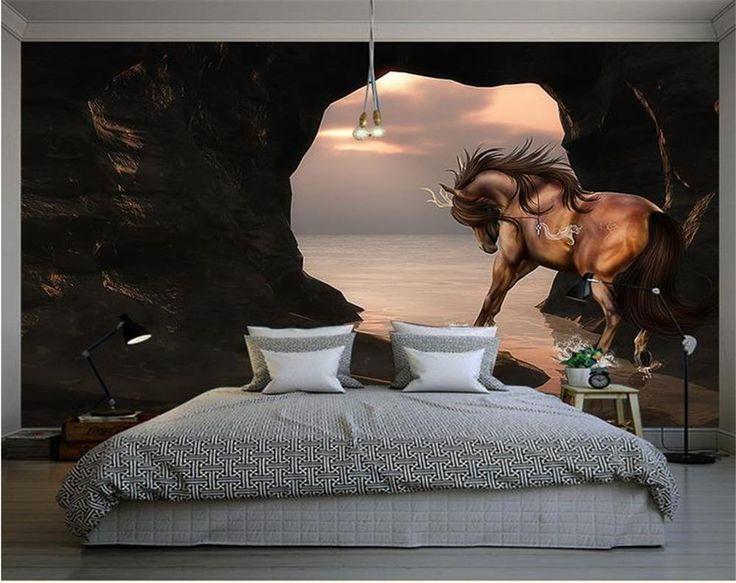 3D обои/пользовательские фото обои/море красоты лошадь/фреска/ТВ/диван/Спальня/КТВ/Отель/гостиная/Детская комната