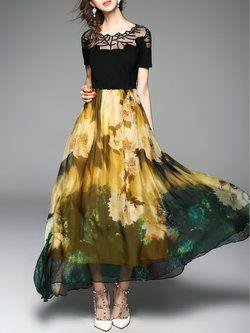 Paneled Big Hem Maxi #Dress