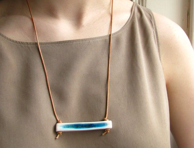 Porcelain and Blue Glass Channel Necklace. etsy