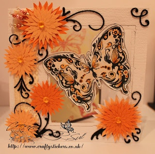 Stamped image , coloured with copic markers Flowers from Martha Stewart