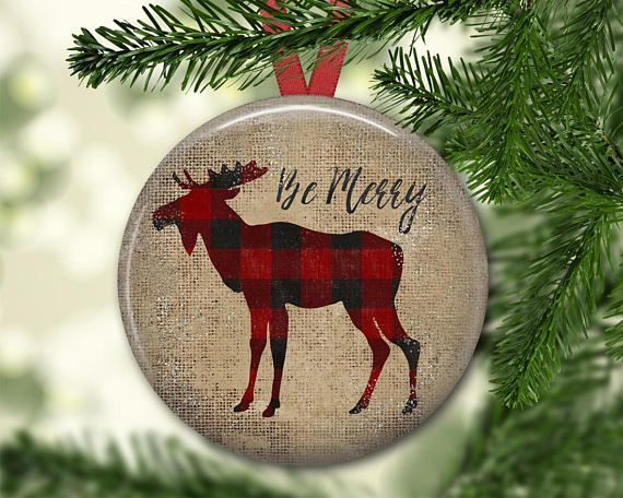 Plaid Moose Christmas ornament. Primitive Christmas decorations.