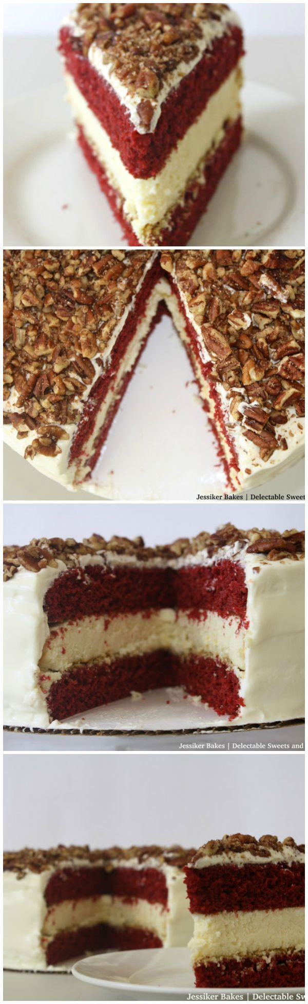 Red Velvet Cake Cheesecake -Fluffy creamy cheesecake in between layers of red velvet cake covered in cream cheese frosting and topped with sugared pecans!