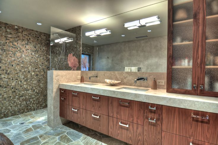 Modern Master Bathroom: Organic Materials, Natural Materials, rustic modern, modern bathroom, modern vanity, modern shower, glass enclosed shower, mosaic stone shower wall, flag stone shower floor floor, wood veneer cabinets, modern cabinet, modern cabinet and drawers, modern glass door cabinet, modern bathroom vanity, modern cabinet pulls & knobs, modern fixtures, modern recessed can lights, bathroom bar light fixture, modern faucets, naturally finished flag stone floor.