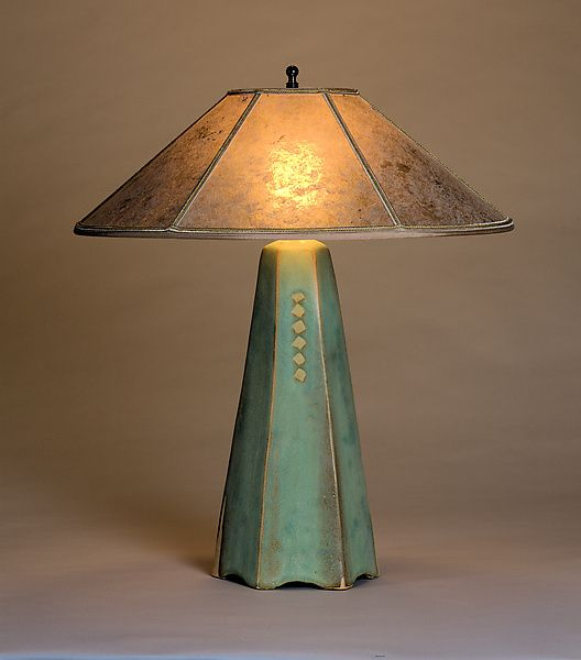 Six-Sided Lamp in Celery Glaze by Jim Webb: Ceramic Table Lamp available at www.artfulhome.com