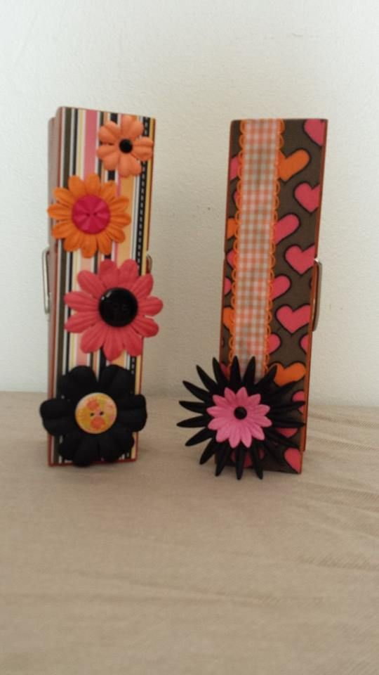 Orange & Pink Extra Large Clothespin Photo/Note Holders