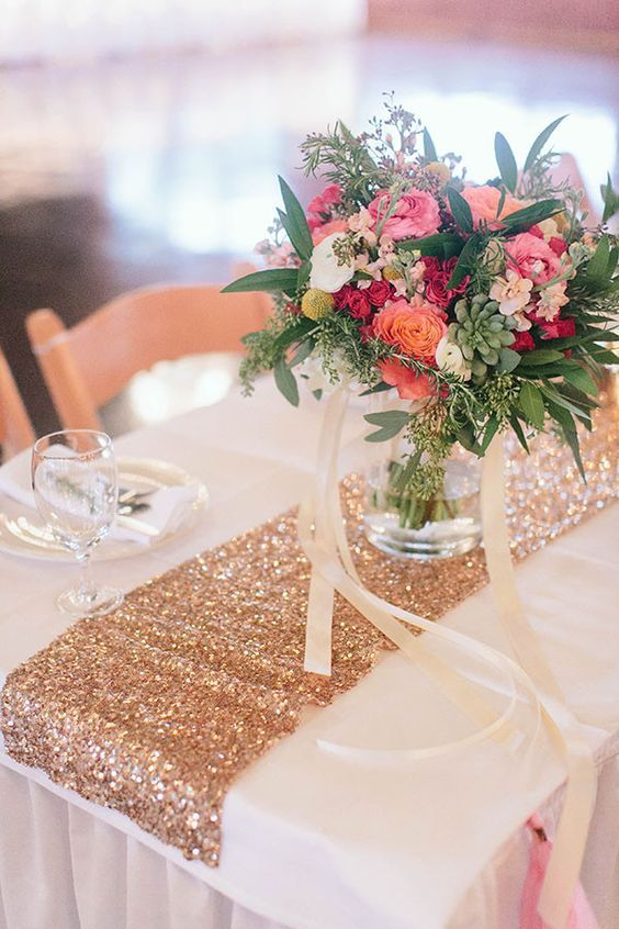 Sequin Table Runners and Colorful Flowers / http://www.deerpearlflowers.com/glitter-wedding-ideas-and-themes/2/