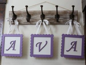 Framed Wooden Letters painted lavender.