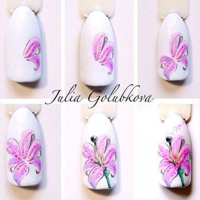 тоже начал рисунки лилии на ногтях фото материалы