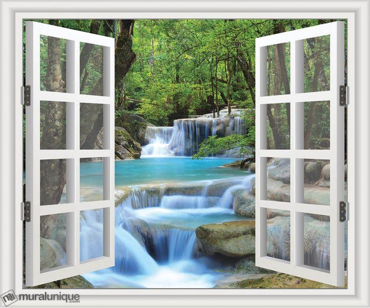 Chutes Erawan en Thailande avec une Fenêtre Blanche | Achetez en Ligne des Murales en Papier Peint Décoratives- Muralunique.com