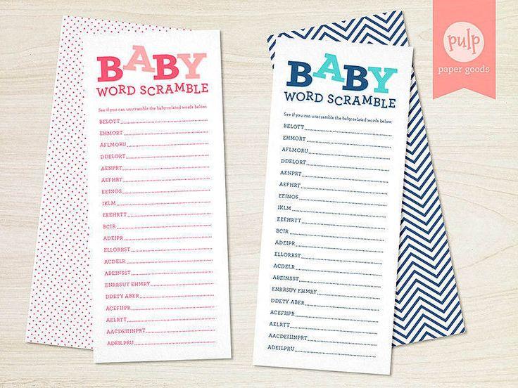 Deja una hoja de palabras revueltas de temas de recién nacido en el lugar de cada invitado para romper el hielo de forma fácil y optativa.