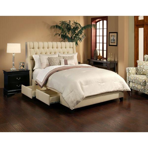 Cambridge wheat 4 drawer upholstered platform storage bed for Upholstered platform bed with drawers