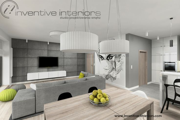 Projekt salonu Inventive Interiors - beton w salonie