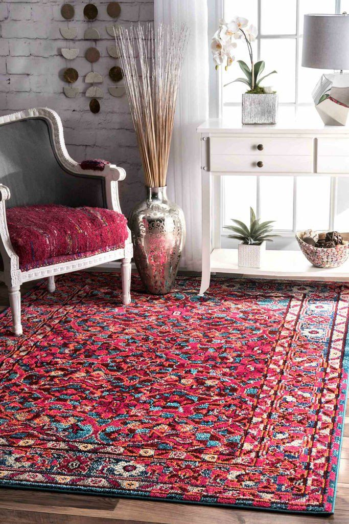 NuLOOM Benito Damask Rug Cherry Pink
