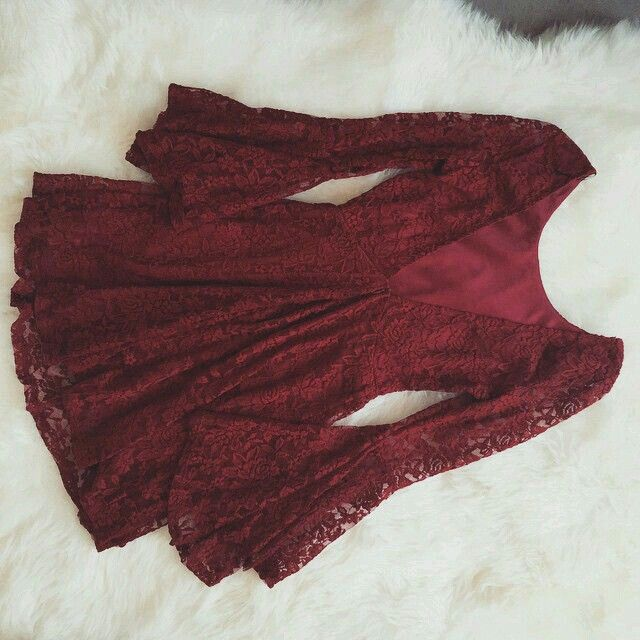 For fall, a cute red lace dress with leggings and boots