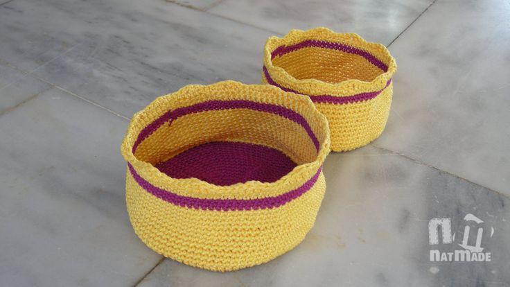 Crochet baskets, cotton baskets,smart storage solution,set of 2 by NatmadeCrafts on Etsy