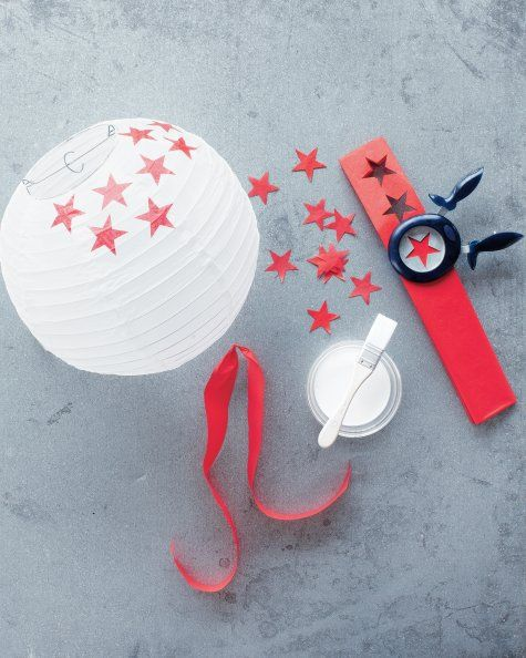 Jazz up those large paper ball light shades! Easy idea, just modge podge pva glue some paper shapes, stars, hearts, flowers, butterflies etc