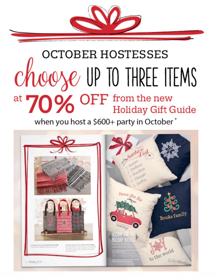 Thirty-One HOSTESS SPECIAL... From October 1, 2017 – October 31, 2017, for parties $600 and above, the Hostess can purchase UP TO 3 of any item from the Holiday Gift Guide for 70% off. Timeless Memory Pouches – Hello Holiday and Chevron Dash, Twice As Nice Tote – Mocha Crosshatch, Chevron Squares, Chevron Dash, Keepin' Cozy Scarf – Woodblock Whimsy, Chevron Dash, Dainty Dot, Statement Canvas Pillow Cover & Insert 18x18 – Natural, Stackin' Jacksons – Very Cherry Pebble & Dainty Dot Pebble…