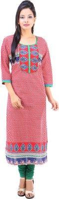 Fuchisa Creation Printed Women's Straight Kurta - Buy Red, White,Blue,Green Fuchisa Creation Printed Women's Straight Kurta Online at Best Prices in India | Flipkart.com