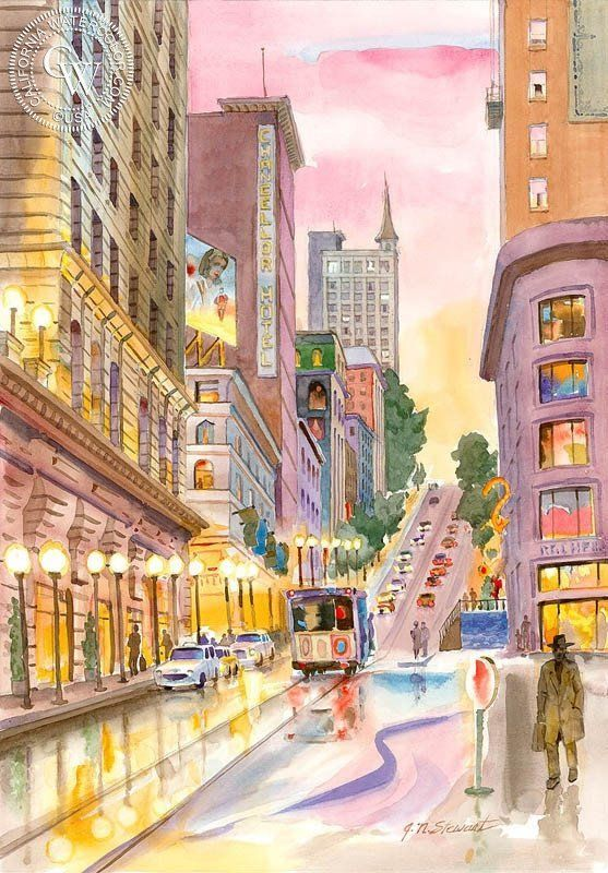 Powell Street, San Francisco, California art by John Norman Stewart. HD giclee art prints for sale at CaliforniaWatercolor.com - original California paintings, & premium giclee prints for sale #chinesearchitecture