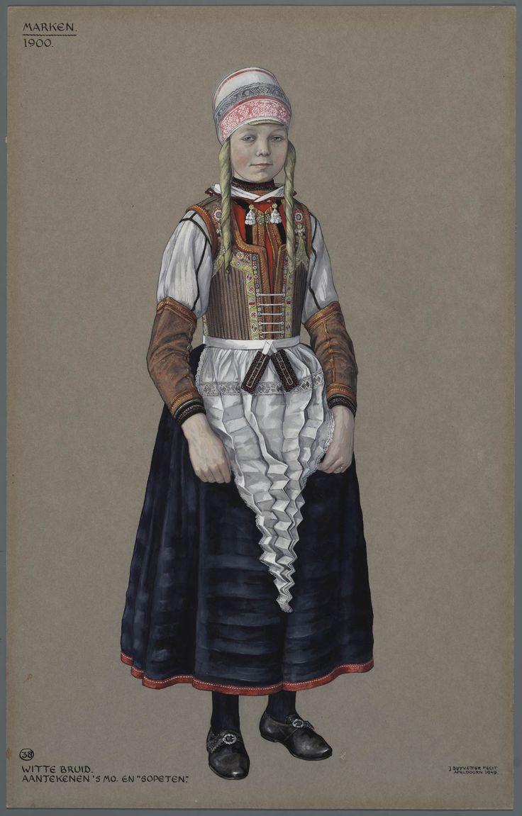 Marken, 1900. Witte bruid. Aantekenen 's morgens en 'sopeten'.