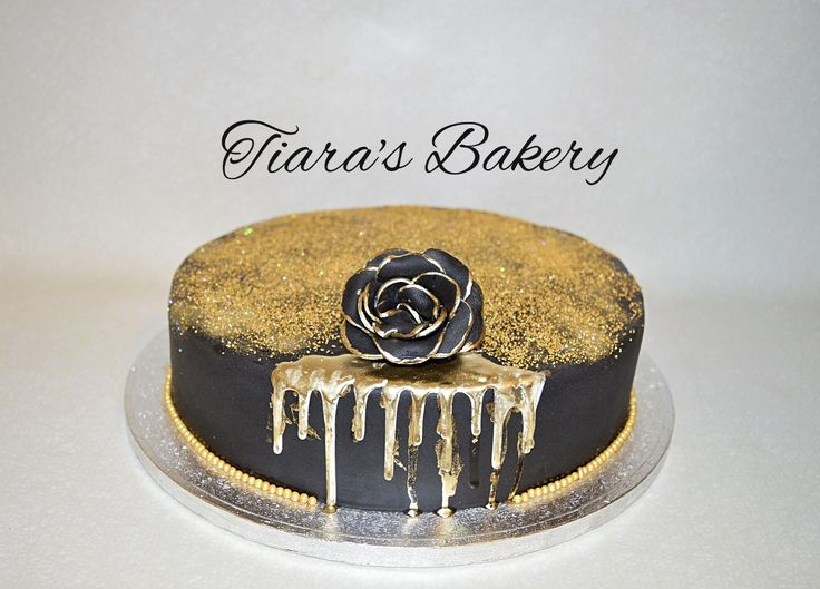 Black and Gold glitter Cake, by Tiara's Bakery, Switzerland