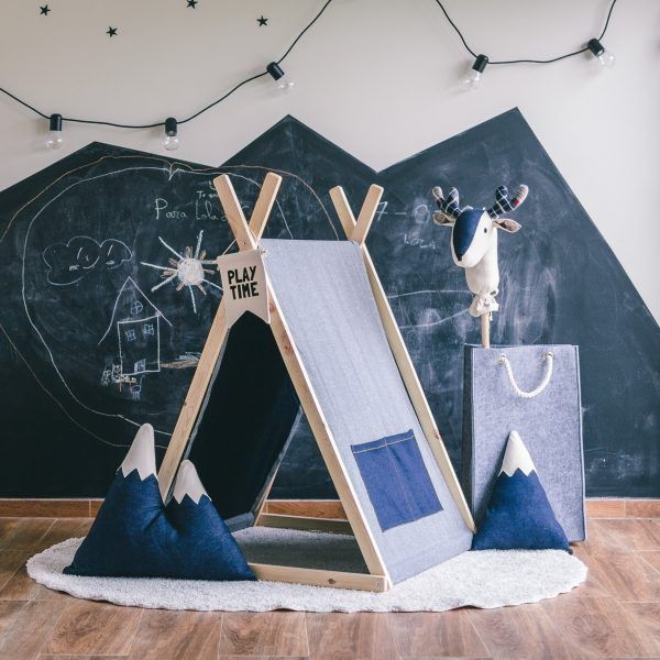 Denim décor accessories for a kids room - teepee, cushions and an adorable deer
