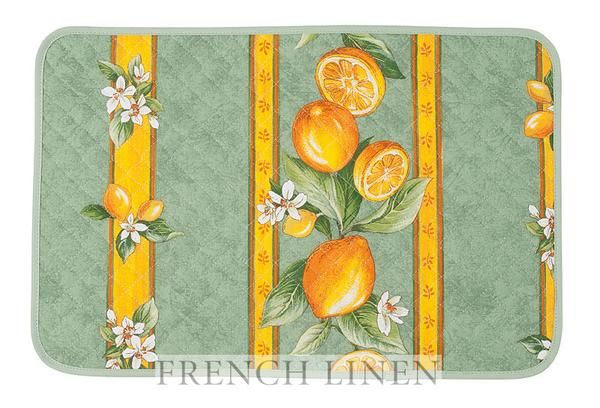 french linen cotton placemat with lemon design in green