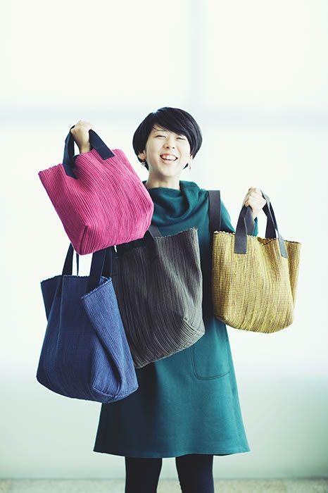 ヨーガンレール カラフルな裂き織りのバッグ