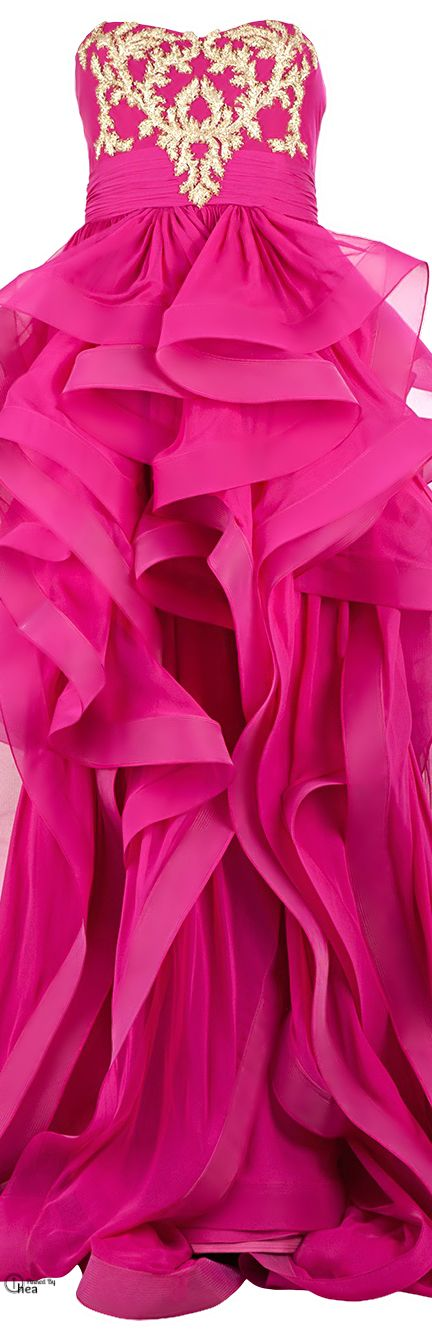 Reem Acra Pink silk embroidered ruffled dress