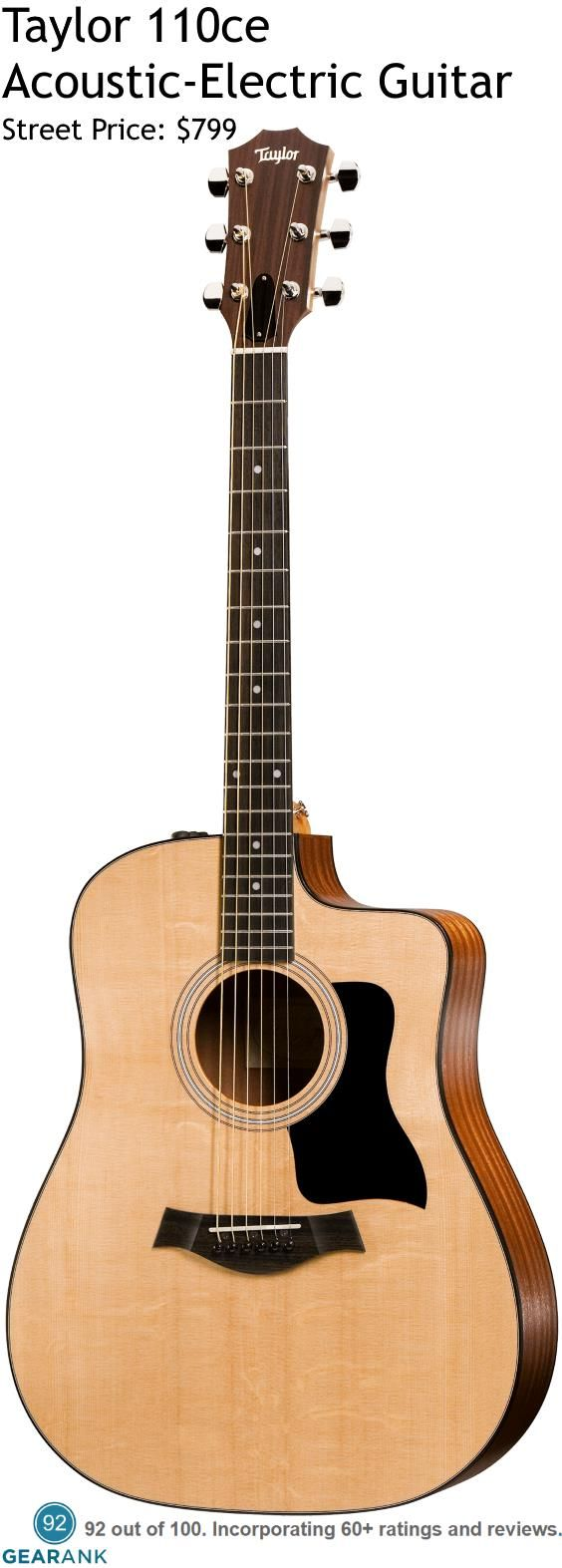 Taylor 110ce 6 String Acoustic-Electric Guitar. Features: Solid Sitka Spruce Top - Laminated Sapele Back/Sides - Dreadnought with Cutaway - ES-T Electronics - Gig Bag Included. For a detailed Guide to Acoustic Guitars see https://www.gearank.com/guides/acoustic-guitars