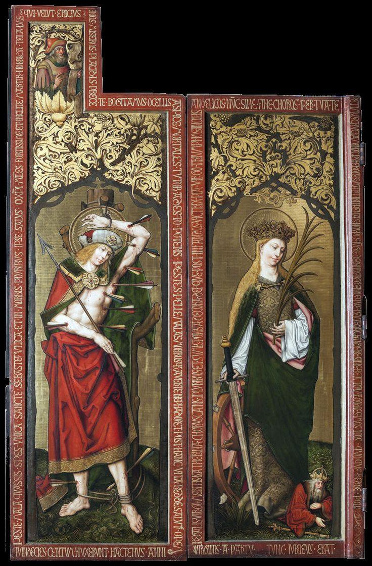 Nikolaus Schit | St Sebastian & St Catherine of Alexandria | ca 1500 | Left wing of the high altar of Marienkirche | Gelnhausen (Germany)